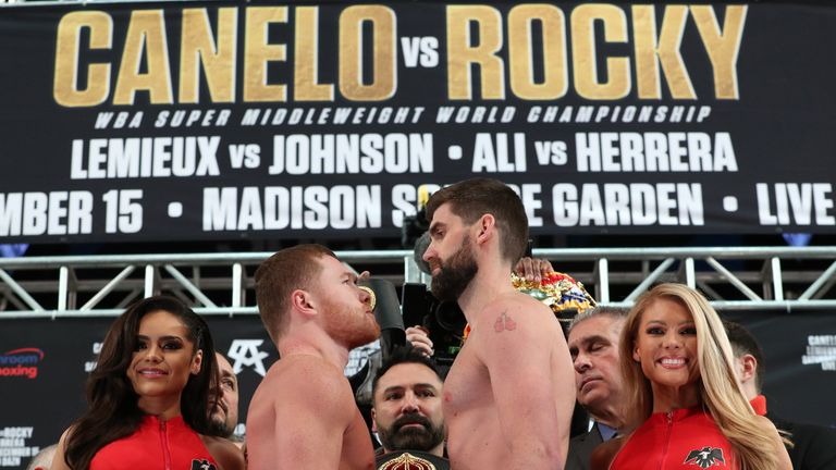 "Saul ""Canelo"" Alvarez and WBA super middleweight champion Rocky Fielding pose after weighing in for their December 15, 2018 fight at Madison Square Garden in New York City.  (Photo by Ed Mulholland/Matchroom Boxing USA)"