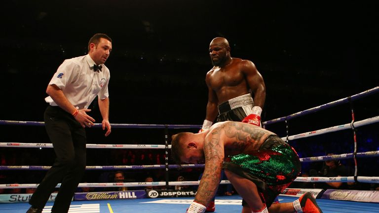 A sustained assault from Takam ended the fight in the seventh round