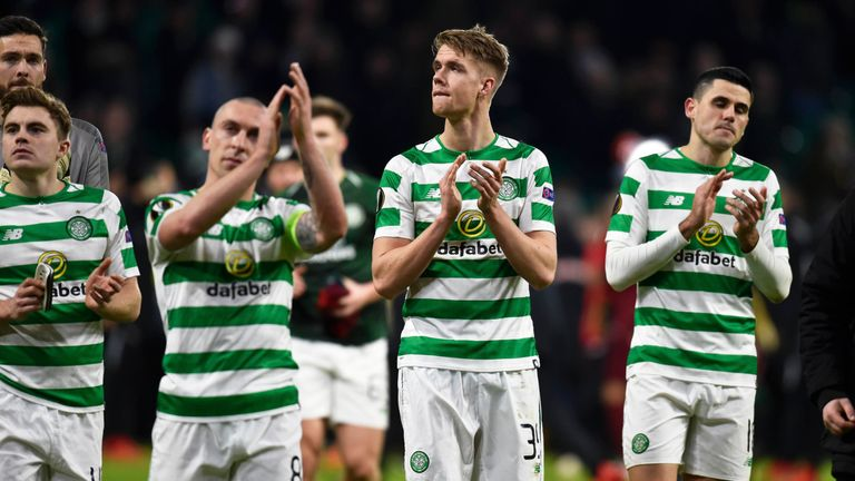 Celtic players applaud their support at full-time after the 2-1 defeat to RB Salzburg