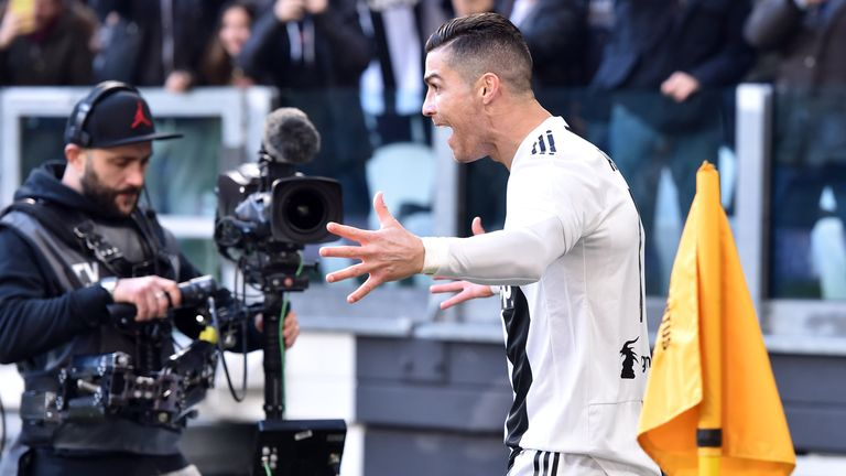 Cristiano Ronaldo celebrates after scoring against Sampdoria