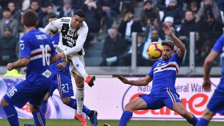 Cristiano Ronaldo was twice on target in Juve's final game of 2018
