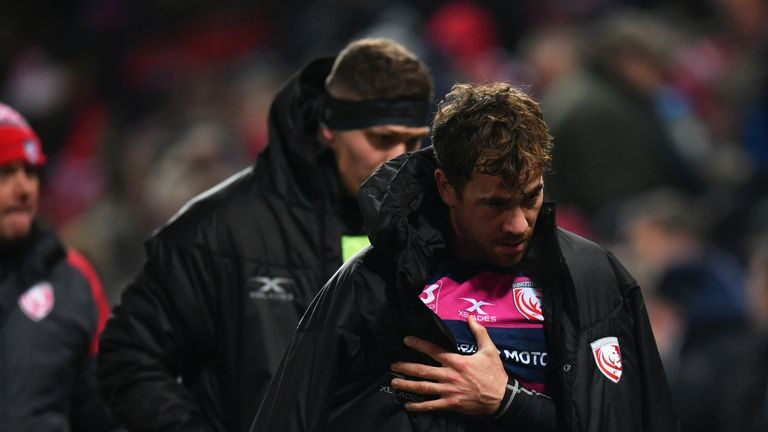 Danny Cipriani is forced to leave the field with a shoulder injury
