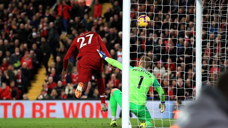 Origi took advantage of Jordan Pickford's mistake to score in the 96th minute at Anfield