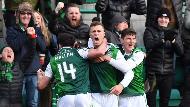 Florian Kamberi celebrates putting Hibs 2-0 up against Celtic