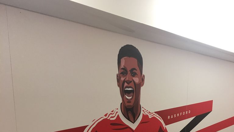 An image of Rashford in a corridor at Manchester United's training ground