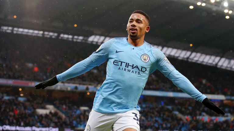 Gabriel Jesus celebrates putting Manchester City ahead