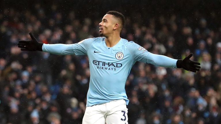 Manchester City's Gabriel Jesus celebrates scoring his side's second goal of the game