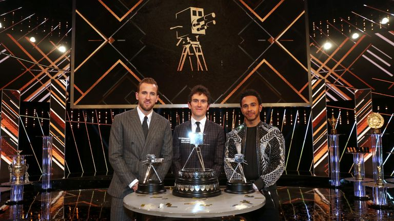 Geraint Thomas [middle] won the award ahead of Harry Kane and Lewis Hamilton