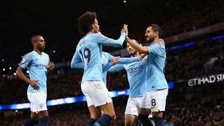 Ilkay Gundogan celebrates scoring Manchester City's third goal against Bournemouth