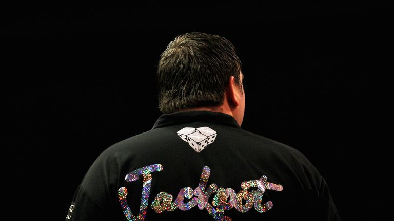 A detail veiw of the shirt with the word 'Jackpot' worn by Adrian Lewis of England as he gets his darts ready to throw in his match against Robert Thornton of Scotland during day eight of the 2012 Ladbrokes.com World Darts Championship at Alexandra Palace on December 22, 2011 in London, England.