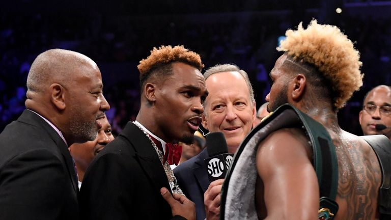 Jermall Charlo teases Jarrett Hurd after his third round knockout of Jason Welborn during the WBA-IBF-IBO Junior Middleweight Champioinship