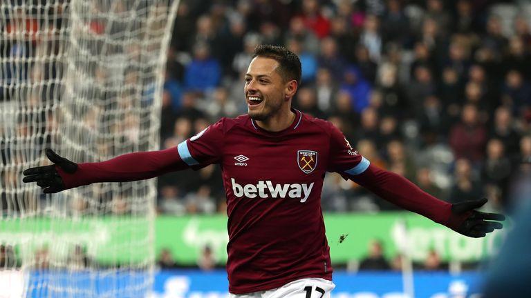 Javier Hernandez celebrates his first goal for West Ham