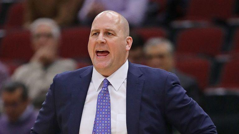 Chicago Bulls players and head coach Jim Boylen