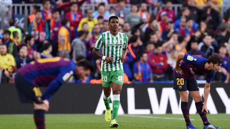 Real Betis wing-back Junior Firpo says he is happy to remain at the club