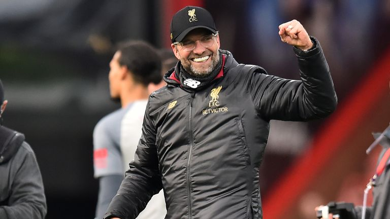 Jurgen Klopp celebrates Liverpool's 4-0 won over Bournemouth