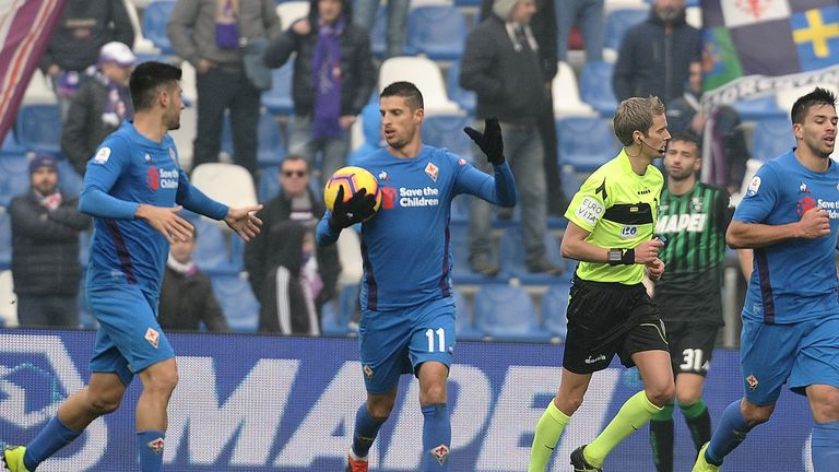 Kevin Mirallas scored Fiorentina's equaliser at Sassuolo