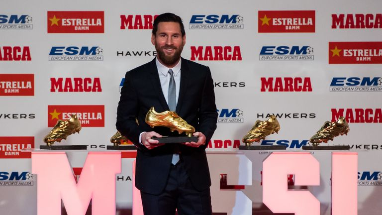 Messi presented with record fifth European Golden Shoe award