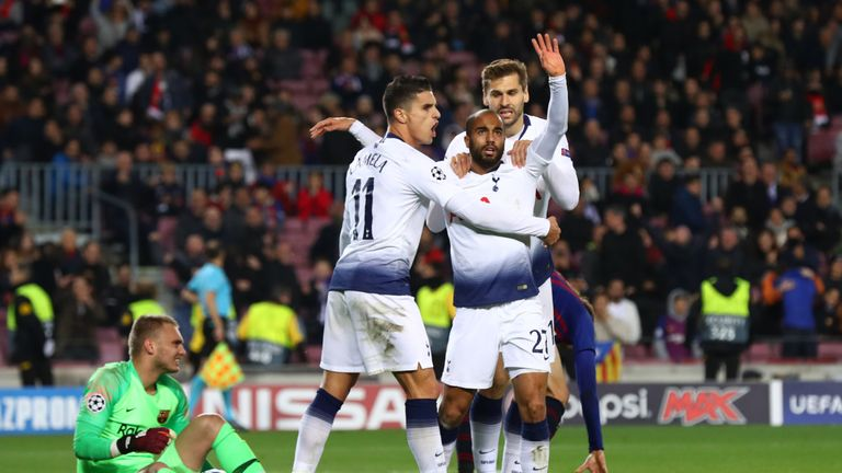 Tottenham secured their place in the last-16 of the Champions League with a 1-1 draw at Barcelona