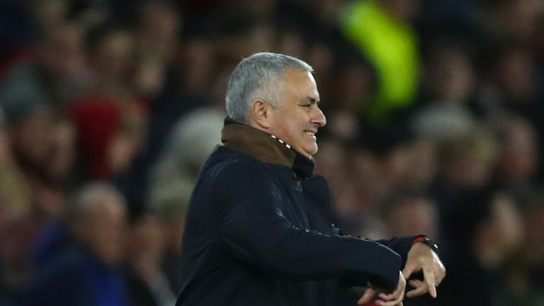 Manchester United manager Jose Mourinho during his side's 2-2 draw with Southampton
