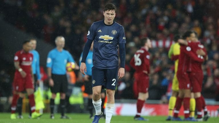 Victor Lindelof reacts after Manchester United's defeat at Liverpool