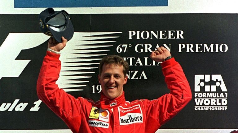 This race was remembered for two things – the bizarre tyre stacks placed at the chicanes to stop drivers running wide and, for more historical reasons, Schumacher's first win at Monza for Ferrari. It was the team's first at home for eight years.