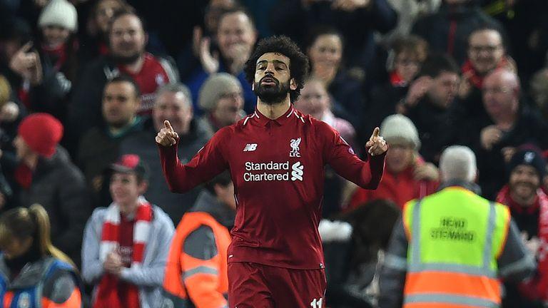 Salah celebrates Liverpool's opening goal