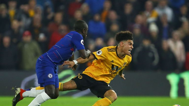 Gibbs-White was able to escape the attentions of N'Golo Kante