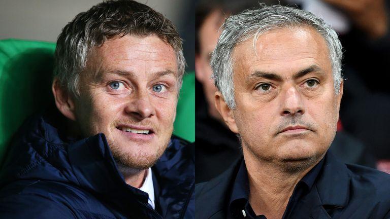 Ole Gunnar Solskjaer and Jose Mourinho