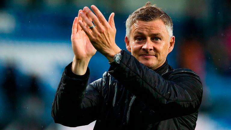 Molde FK´s headcoach Ole Gunnar Solskjaer celebrates after the UEFA Champions League third round, second leg qualifying football match between Molde FK and Hibernian at the Aker Stadium in Molde, Norway, on August 16, 2018