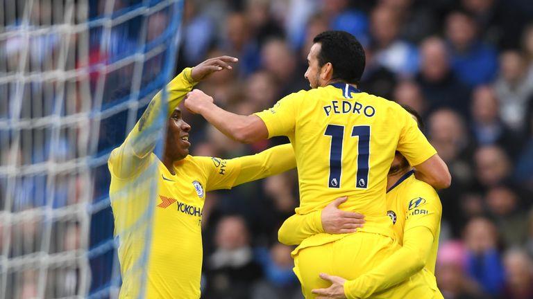 Pedro celebrates his early goal