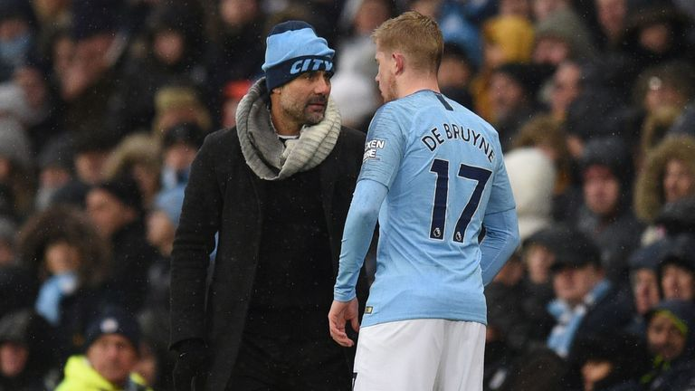Pep Guardiola says he has not spoken to Kevin De Bruyne about his midweek substitution