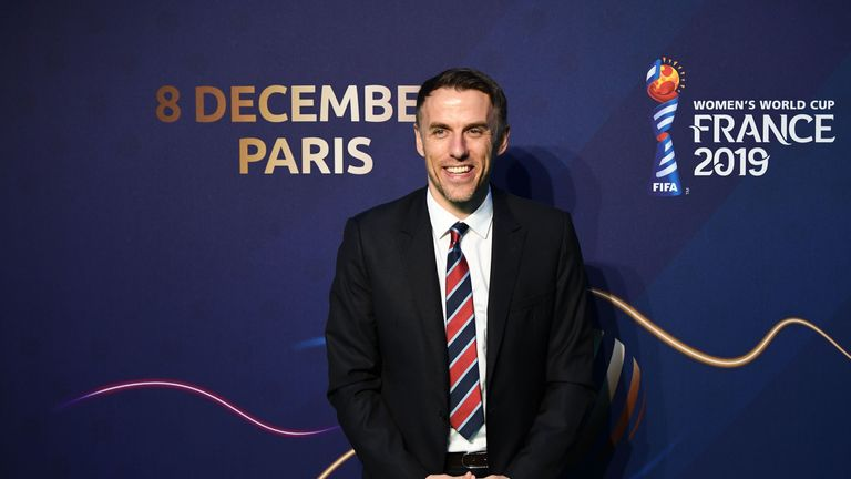 England women's manager Phil Neville before World Cup draw