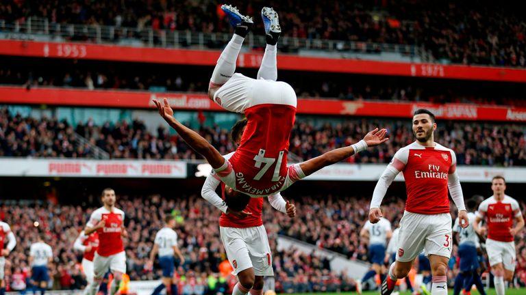 Pierre-Emerick Aubameyang scored twice in Arsenal's win over Tottenham