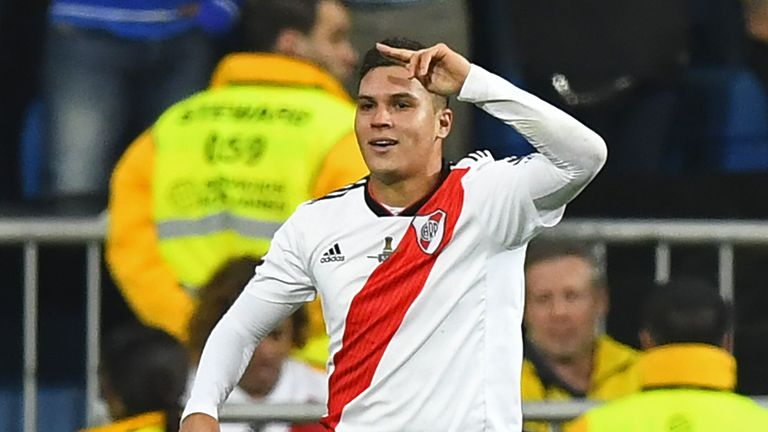Juan Fernando Quintero scored in River Plate's win over rivals Boca Juniors