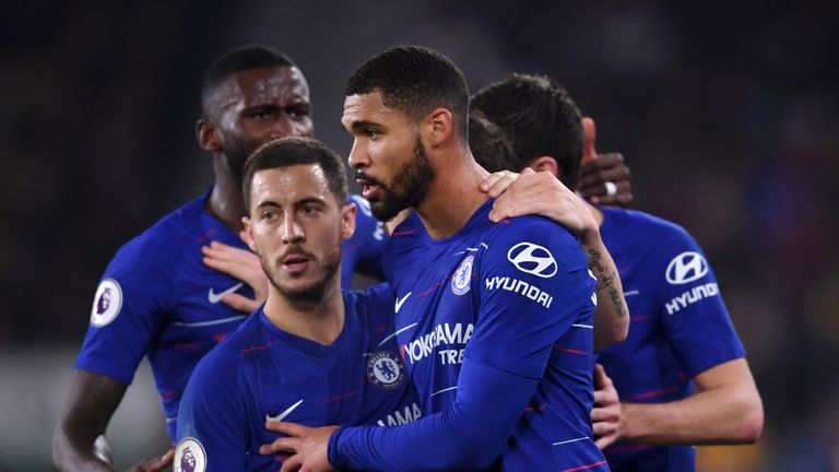 Ruben Loftus-Cheek celebrates with Chelsea team-mate Eden Hazard