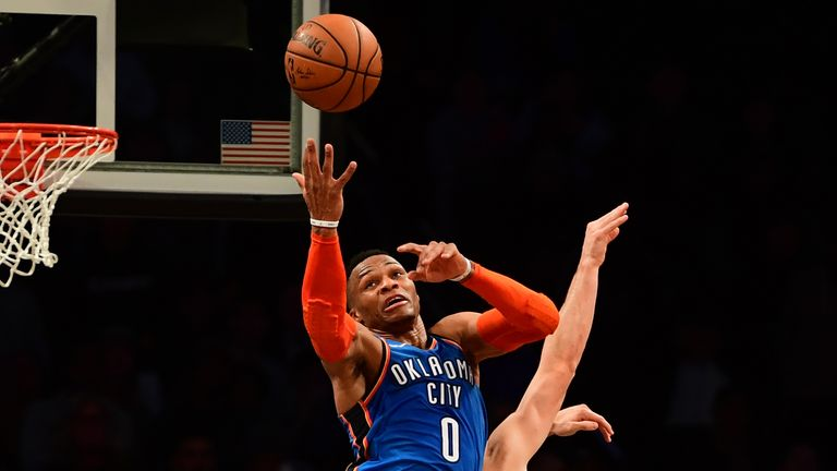Russell Westbrook #0 of the Oklahoma City Thunder catches a rebound during the fourth quarter of the game against Brooklyn Nets at Barclays Center on December 05, 2018 in New York City.