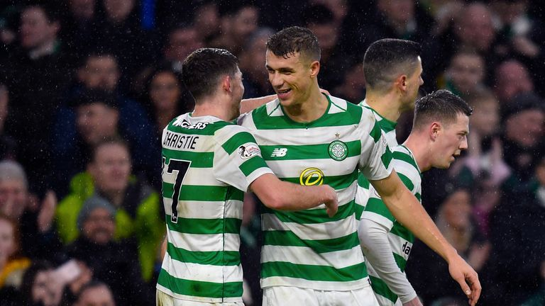 Celtic's Ryan Chrsitie and Jozo Simunovic celebrate his goal to make it 4-0