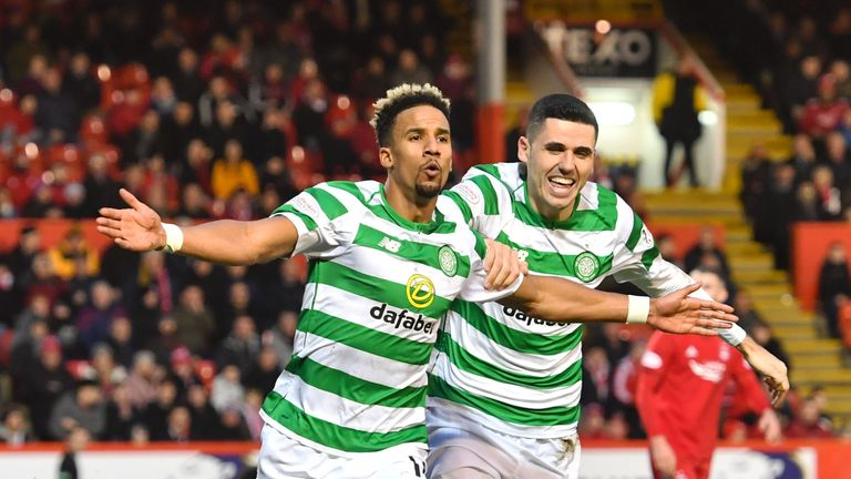 Celtic's Scott Sinclair celebrates his second goal with Tom Rogic (right)