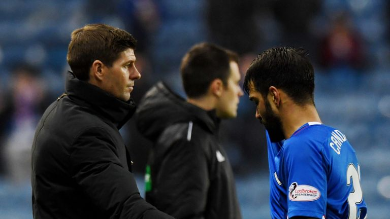 Rangers manager Steven Gerrard with Daniel Candeias at full-time after the 1-0 defeat against Aberdeen