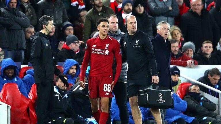 Liverpool's Trent Alexander-Arnold injured his knee against Brighton