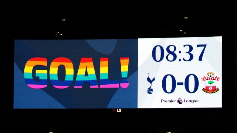 The Wembley scoreboard used a rainbow font in Wednesday's Tottenham vs Southampton game to show support for the Rainbow Laces campaign