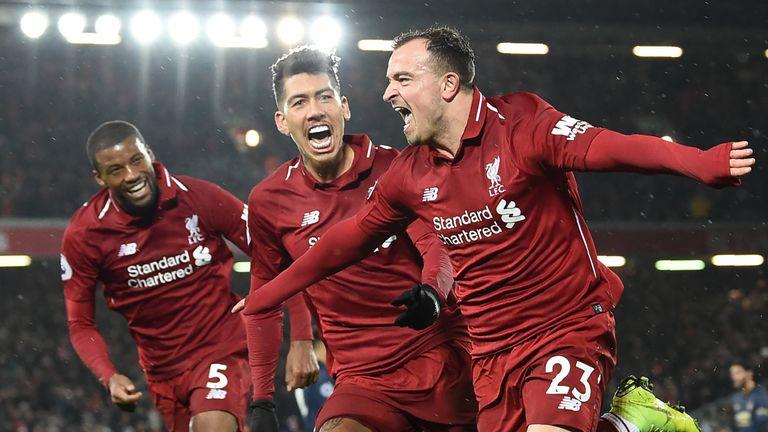 Xherdan Shaqiri scored twice as Liverpool beat Manchester United 3-1 at Old Trafford in December, 2018