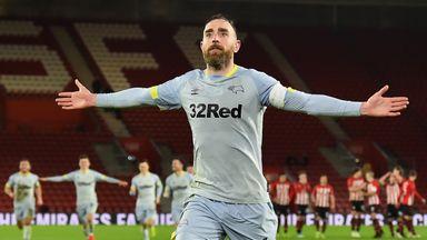 Richard Keogh celebrates scoring the winning penalty for Derby