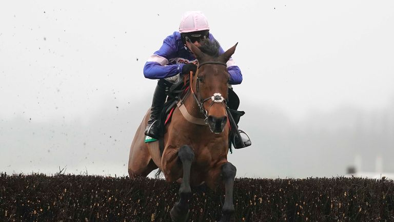 Harry Cobden and Cyrname clear the last to win the bet365 Handicap Chase at Ascot