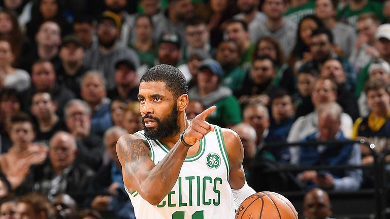 Kyrie Irving initiates the Celtics' offense against the Pacers