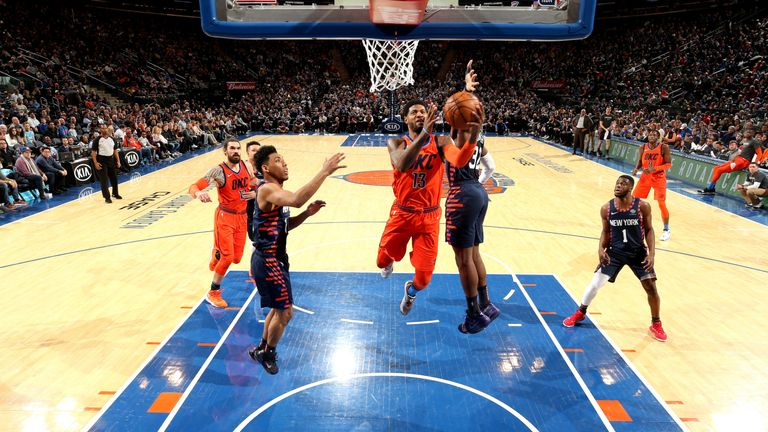 Paul George attacks the basket against the New York Knicks