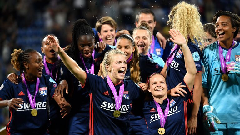 Hegerberg and the Lyon team celebrate their 2018 Champions League win