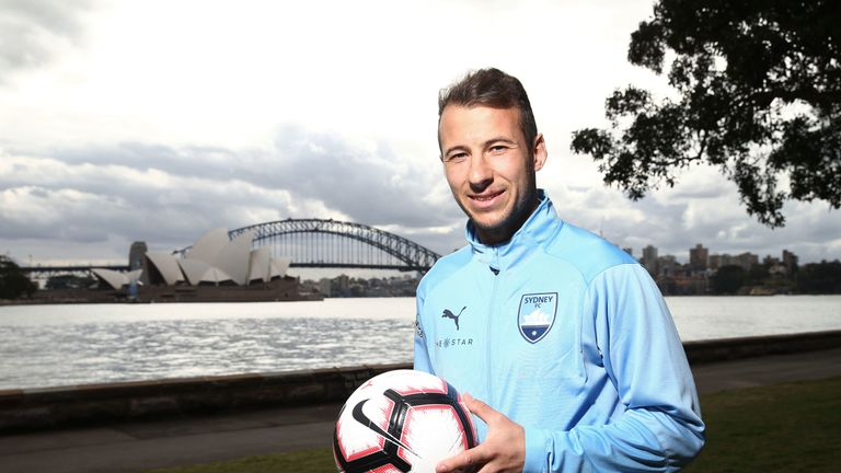 Adam Le Fondre during a Sydney FC A-League media opportunity at Mrs Macquarie's Point on August 23, 2018 in Sydney, Australia.