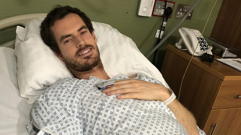 Andy Murray posted this shot of himself after the successful operation (via @andymurray on Instagram)