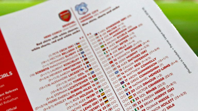 The matchday programme at the Emirates included Sala's name